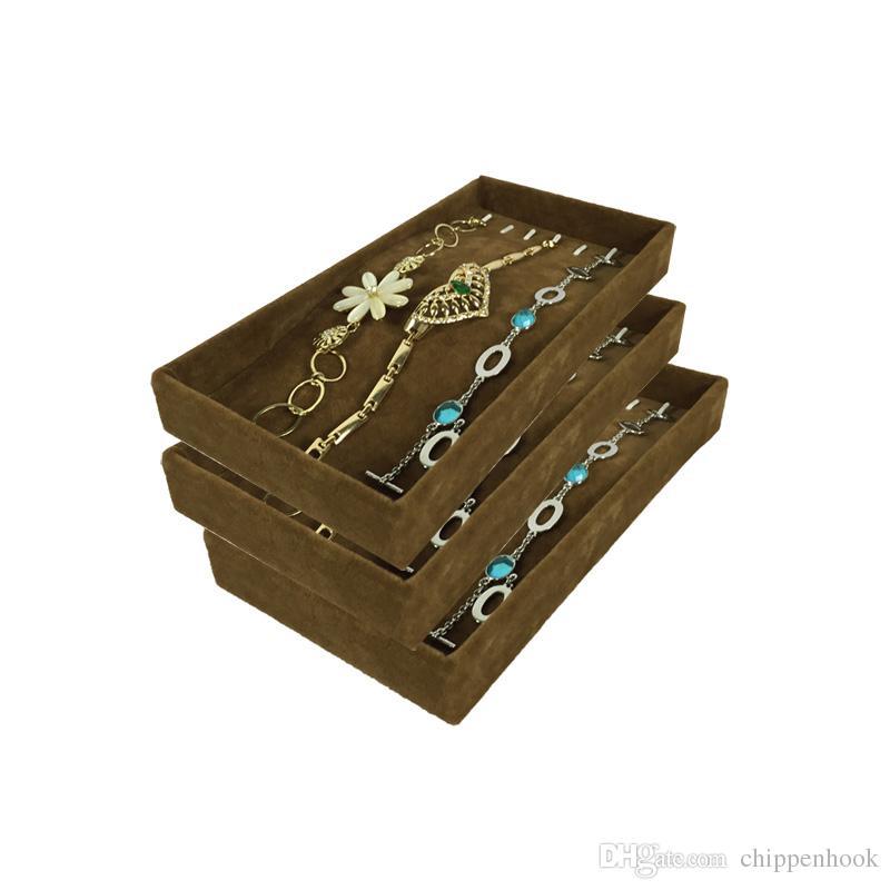 3Pcs Jewelry Display Tray Metal Hook Pendant Holder Brown Velvet Chain Bracelet Anklet Necklace Display Storage Tray 11*22*3cm