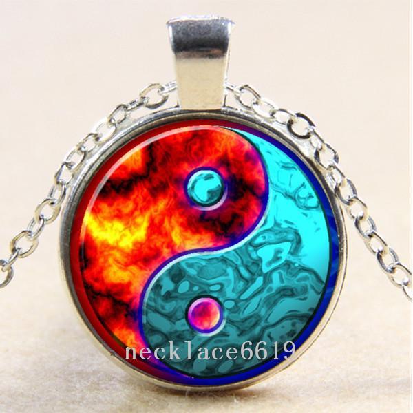 10pcs Yin Yang collier de feu de glace, cadeaux, collier en verre cabochon argent / bronze / pendentif noir, collier de chaîne