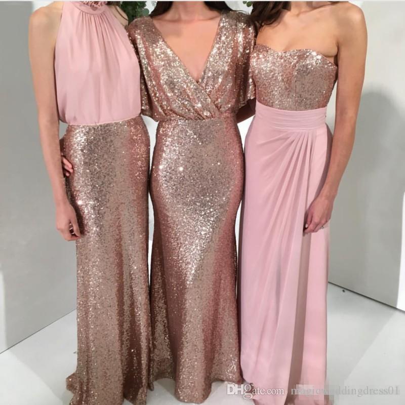 Compre Brillante Tres Estilos Una Línea De Vestidos De Dama De Honor ...