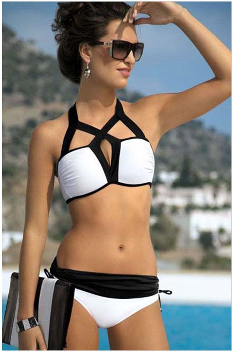 2019 Sexy Bikini Set Mulheres Halter Biquinis Maiô Triângulo Terno de Natação Bandage Swimwear Tankini Monokini Biquini Preto Branco Maiô