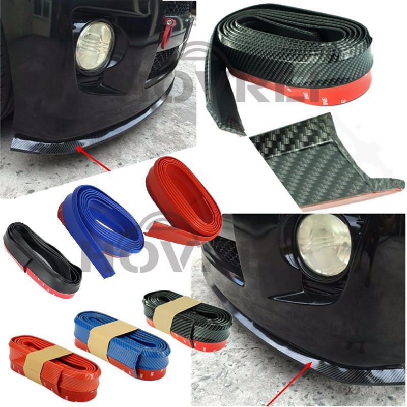 1X Carbon fiber Rubber Soft Black bumper Strip Car Exterior Front Bumper Lip Kit