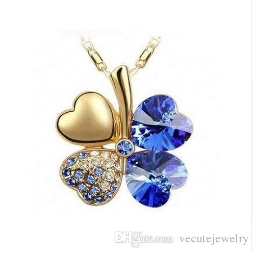 18K Gold Plated Four Leaf Clover Swarovski Crystal Necklace for Women Bridal Wedding Jewelry Nice Gift Wholeasale Price