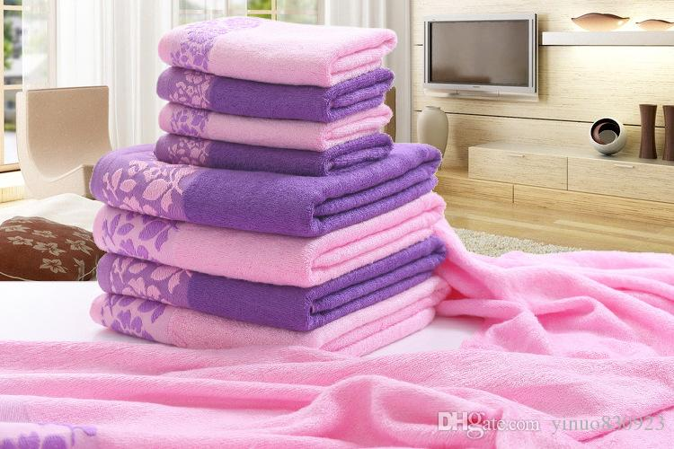 Asciugamani ricamati rosa 3 pezzi 600g Asciugamano in fibra di bambù 100% Set Asciugamani Asciugamano da bagno per adulti Salviette alte assorbenti