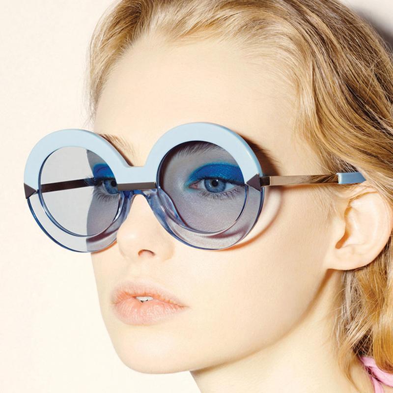 الجملة 2016 جديد إمرأة نظارات شمس جولة هوليوود البحر بركة الأزرق أنثى الأزياء كبير جدا السهم مرآة نظارات Oculos UV400