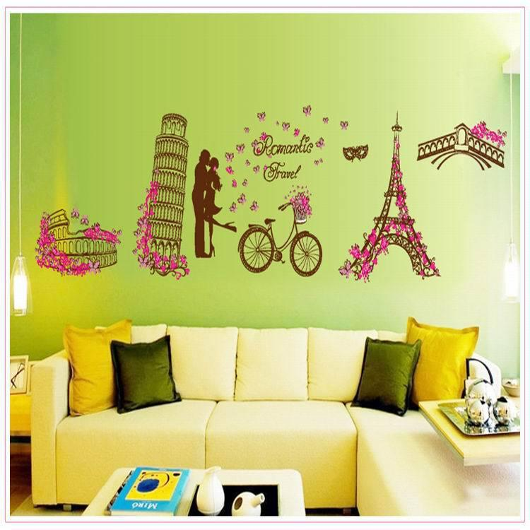 Places Of Interest Cartoon Wall Stickers Home Decor World\'S Famous ...