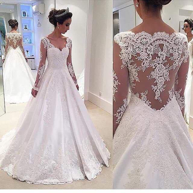 2017 Sleeved Brautkleider A-line Lange Illusion Sexy Zurück Satin Appliques Spitze Liebsten Brautkleider Garten Chinesisches Kleid Für Bräute