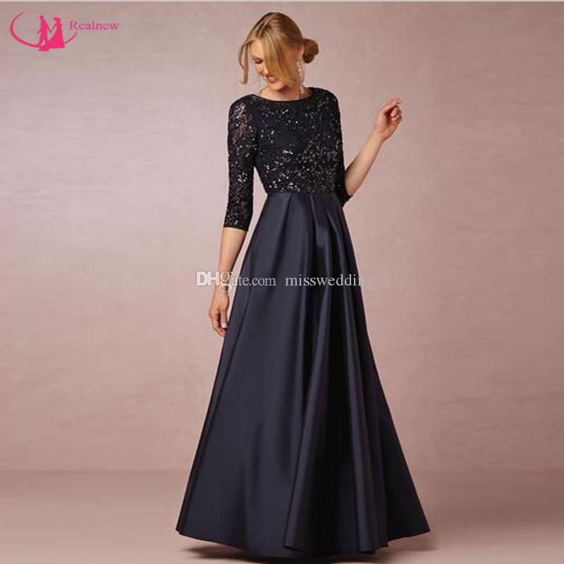 New Brand Mum Dress See Through Lace Indietro Three Quater Sleeve Abito per la madre della sposa Nero satinato Vestido de la madre