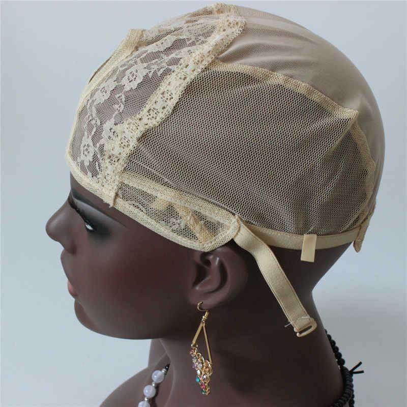 In Stock U Part Machine Wig Cap 5pc/lot Blonde Color for Making Wigs Adjustable Strap Fast Shipping