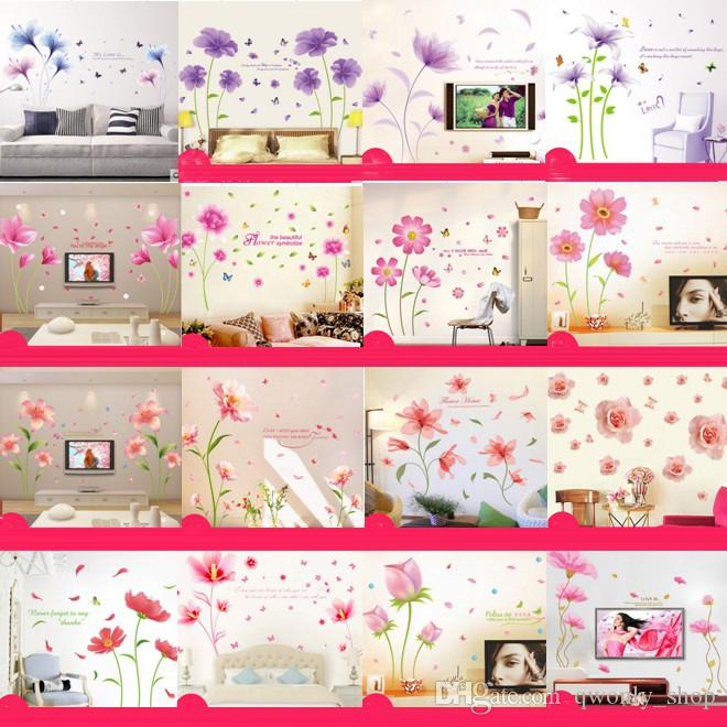Mix Order Wholesale Removable PVC Wall Stickers Pink Flower Home Decals Kids Room Wallpaper Nursery Wall Decor Wall Art Sticker