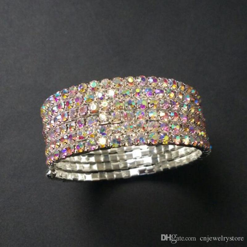 6 Reihen Spirale Crystal Strass Stretch Armreif Heißer Verkauf Braut Hochzeit Schmuck Zubehör für Frauen