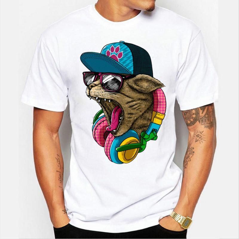 Nueva llegada de los hombres de moda loco DJ Cat Design camiseta Cool Tops manga corta Hipster Tees envío gratis