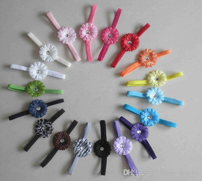 Children baby 2 inch daisy flower skinny Nylon headbands hair flowers Skinny shimmer hair bands girl hair accessories