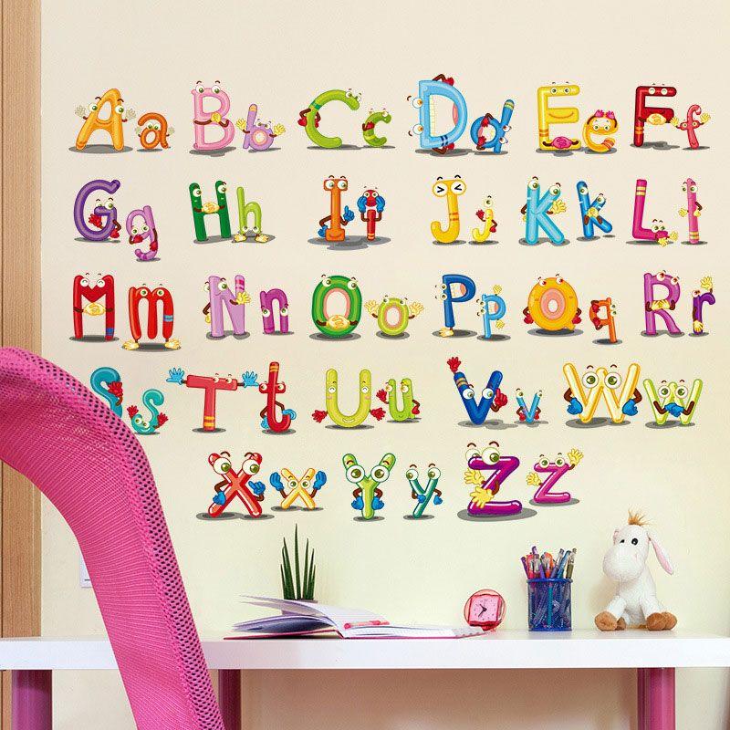 26 Alphabet Cartoon Funny Letters Wall Stickers Kids Room Decoration Nursery Mural Art Home Decals Murals Home Decor Wall Decals Home Decor Wall