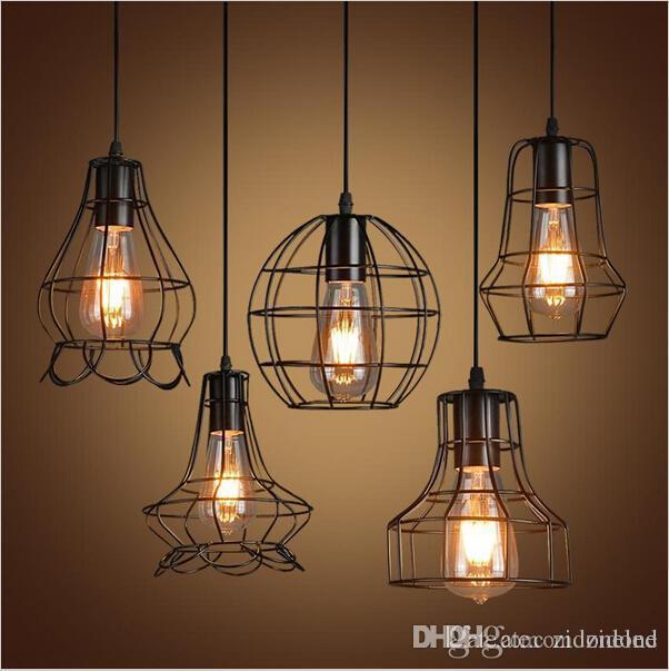 Retro gaiola de ferro levou pingente de luz loft pendurado lâmpada E27 LEVOU pingente industrial luminária bar café restaurante loja de iluminação