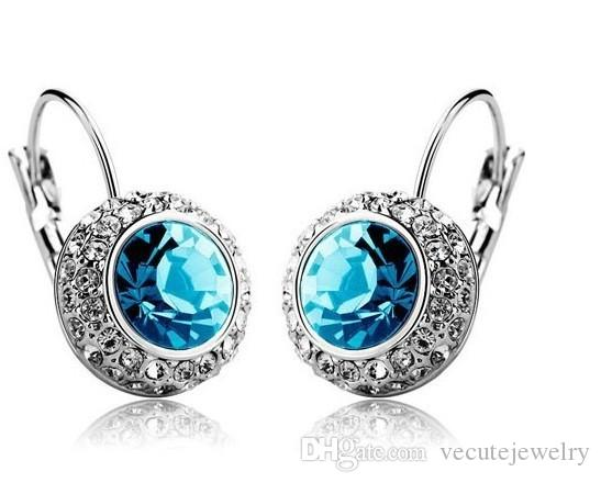 Wholesale Price 18k White Gold Plated Swarovski Crystal Round Women Earrings Rhinestone Dangle Earrings Factory Price 10 Colors