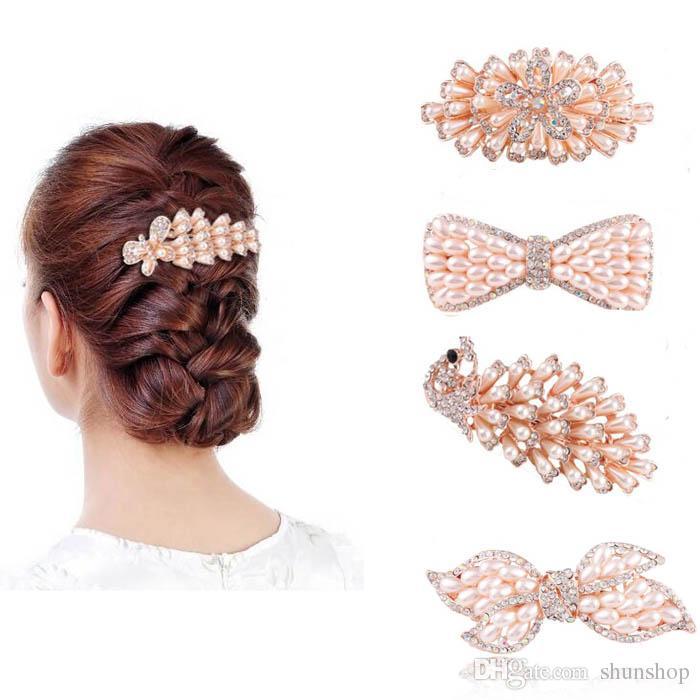 Cute Fashion Große Perle Haarspangen Pins Klauen Barrettes Zubehör