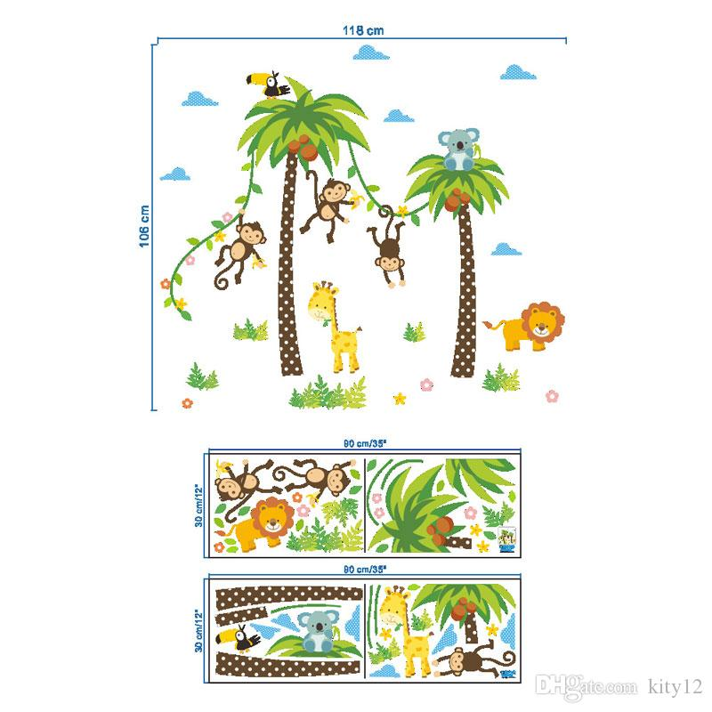 Cartoon Monkey Swing On The Coconut Tree Wall Stickers For Kids Baby Room Wall Decoration Cloud Elephant Giraffe Wall Paper Large Stickers For Walls