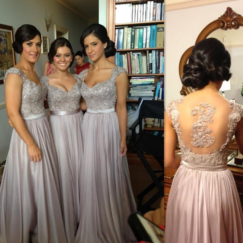 Серебряные платья для подружек невесты A-line Floor Length Cap Sleeve Illusion Назад Скромная одежда для почетных гостей 2018 года Vestido Madrinha Casamento