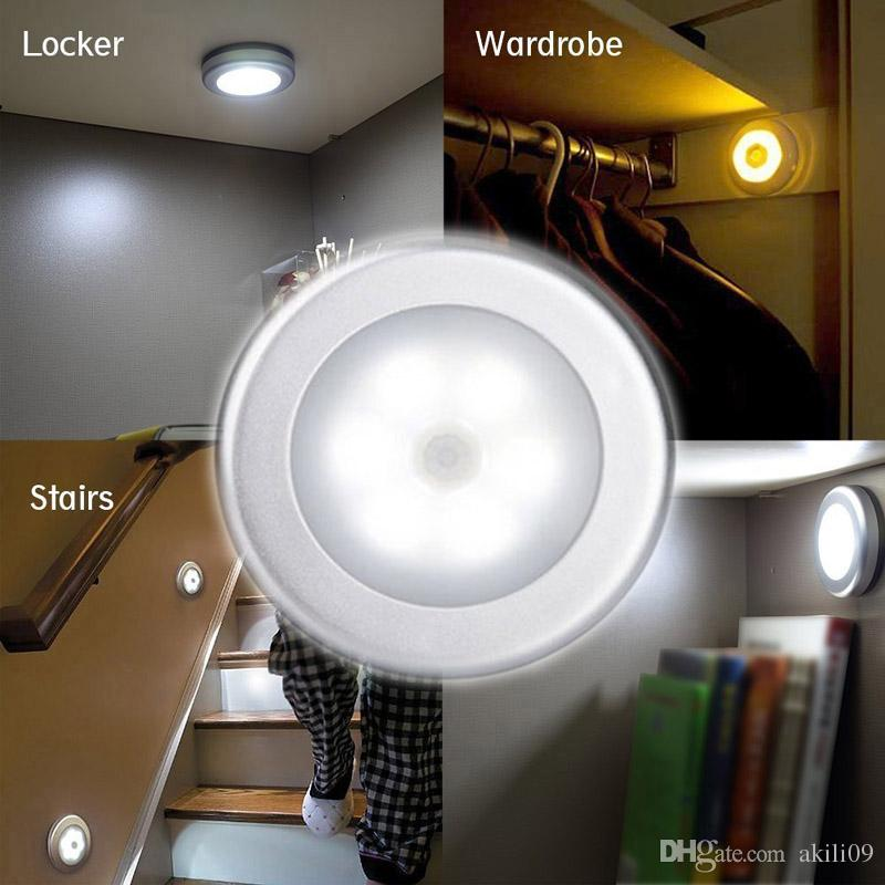 Indoor Wireless 6LED Motion Sensor Stick On Light Battery Operated Stair Hallway