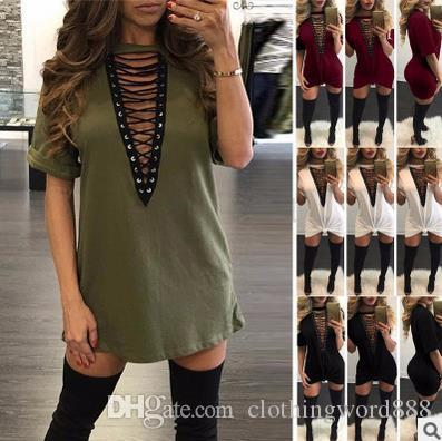 Hot Selling Dresses for Women Clothes Fashion 2017 short Sleeve summer Casual Loose V Neck T-Shirt Plus Size Dress wholesale M88#
