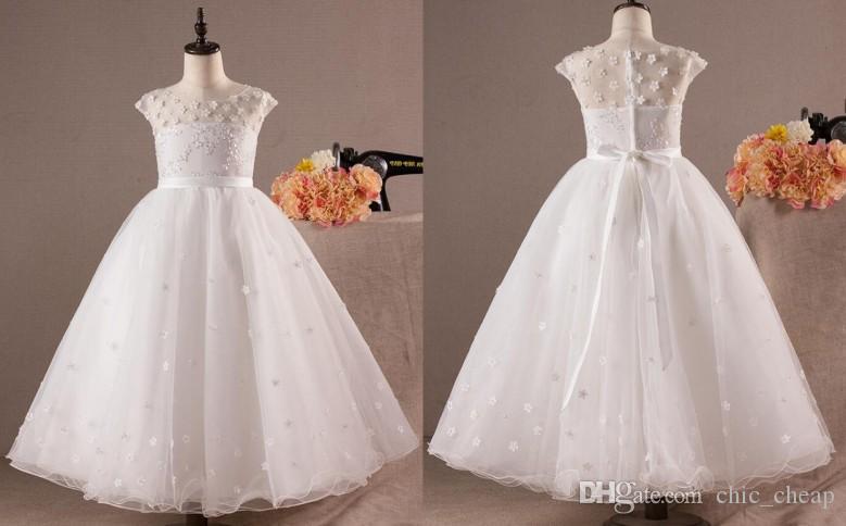 Lovely Baby Dresses 2018 New Arrival Flowers Jewel Sleeveless A-Line Tulle Beautiful Kids Dresses Little Girls Dresses