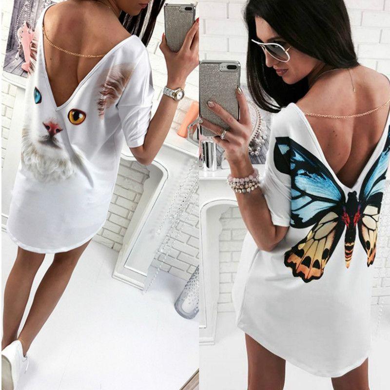 New Women Dress Butterfly Cat Eagle Parrot Print Dress Sexy Deep V-Neck Backless Flush Shoulder Casual Clothing Half Sleeve Boho Vestidos