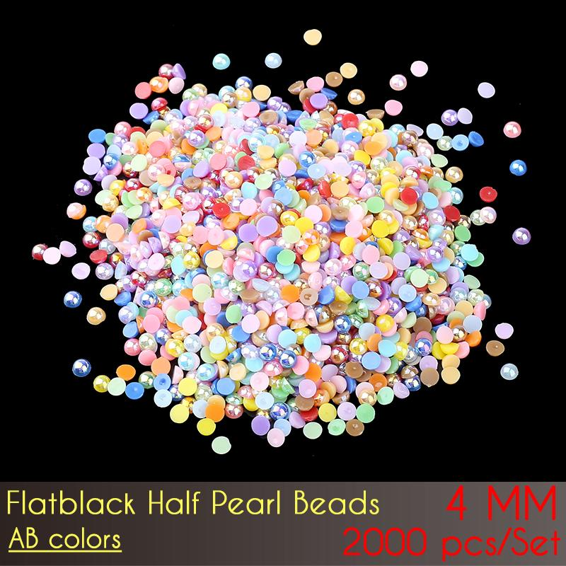 ABS Flat Back Half Pearl Beads 4mm AB Color 2000pcs ABS Plastic Imitation Half Round Flatback Pearl Beads for DIY Nail Art Decoration!!