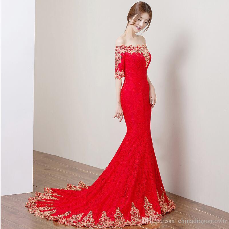 Rouge été dentelle femmes mariage cheongsam sexy chinoise robes qipao longue robe traditionnelle chinoise Slim femmes qipao pour soirée de mariage