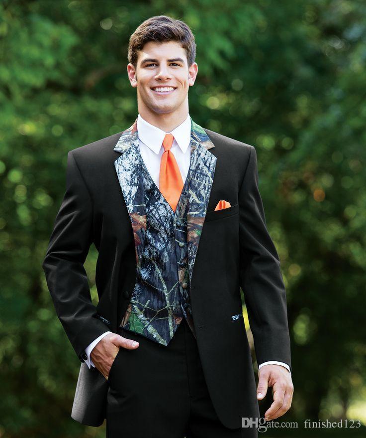 Yeni Gelenler Iki Düğme Siyah Damat Smokin Groomsmen Notch Yaka Best Man Erkek Düğün Damat Suits (Ceket + Pantolon + Yelek + Kravat) K410