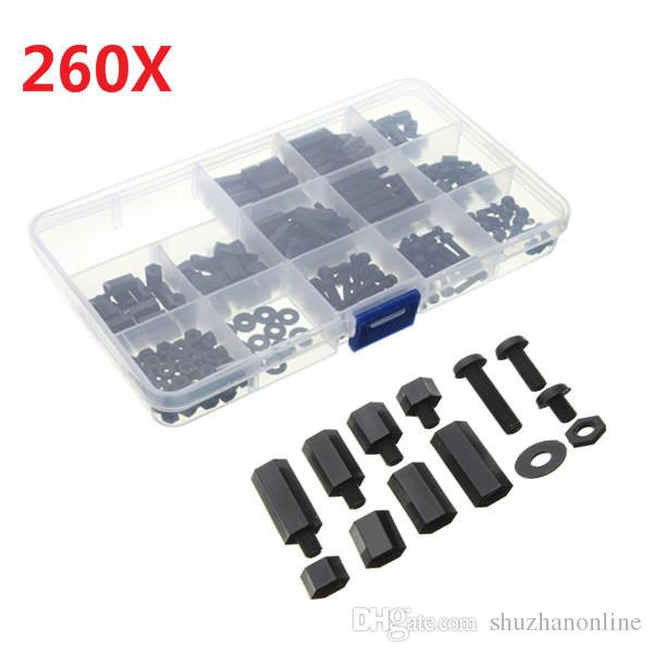 M3NH2 M3 Nylon Screw Black Hex Screw Nut Nylon PCB Standoff Assortment Kit 260pcs
