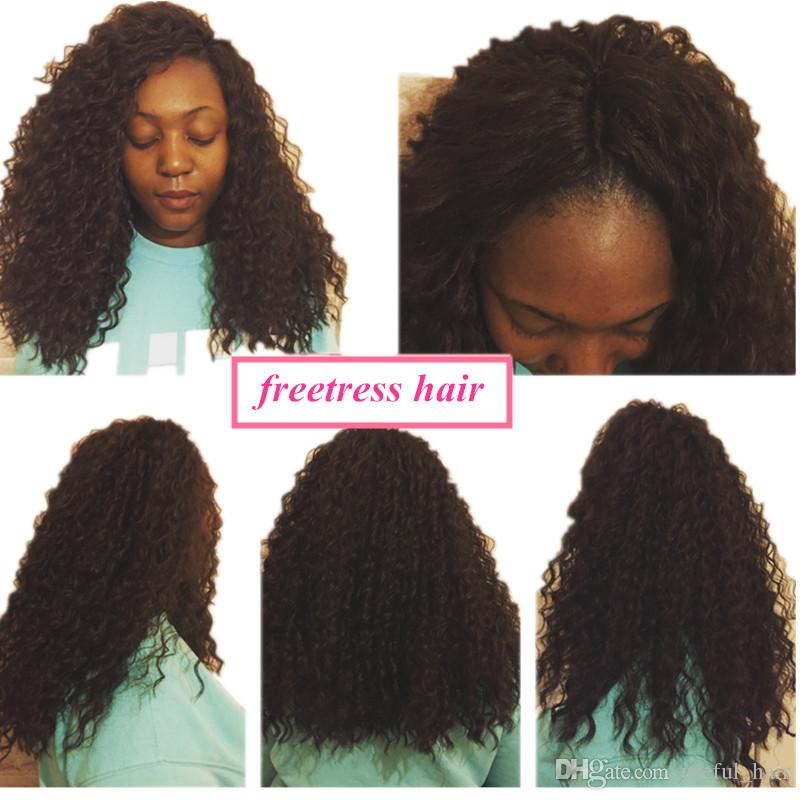 Freettress Synthetic Treiding Hair Black, Brown Freetress Crochet Trecce Capelli Water Wave A Wave Capelli Estensioni ricci Crochet Trecce per le donne nere