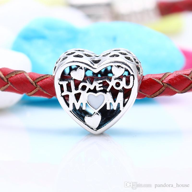 2017 fête des mères 100% réel 925 argent sterling non plaqué luxe j'aime maman charmes charmes européens perles fit Pandora Bracelet bijoux DIY