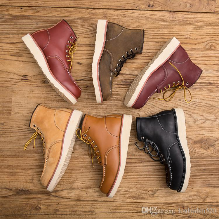 Genuine Leather Men's Boots Spring Red Ankle Boots Man Wing Warm Outdoor Work Martin Cowboy Motorcycle Heel Male Lace-up Y875