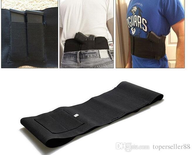 Coldre de arma de pistola de cintura de banda de barriga ajustável tático com 2 bolsa de bolsas de mag