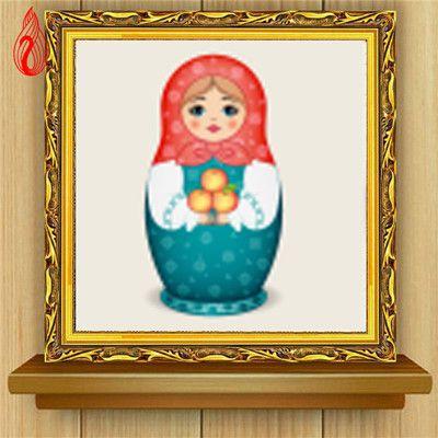 Muñeca Rusa Cuadro De Punto De Cruz Muñeca rojo y azul