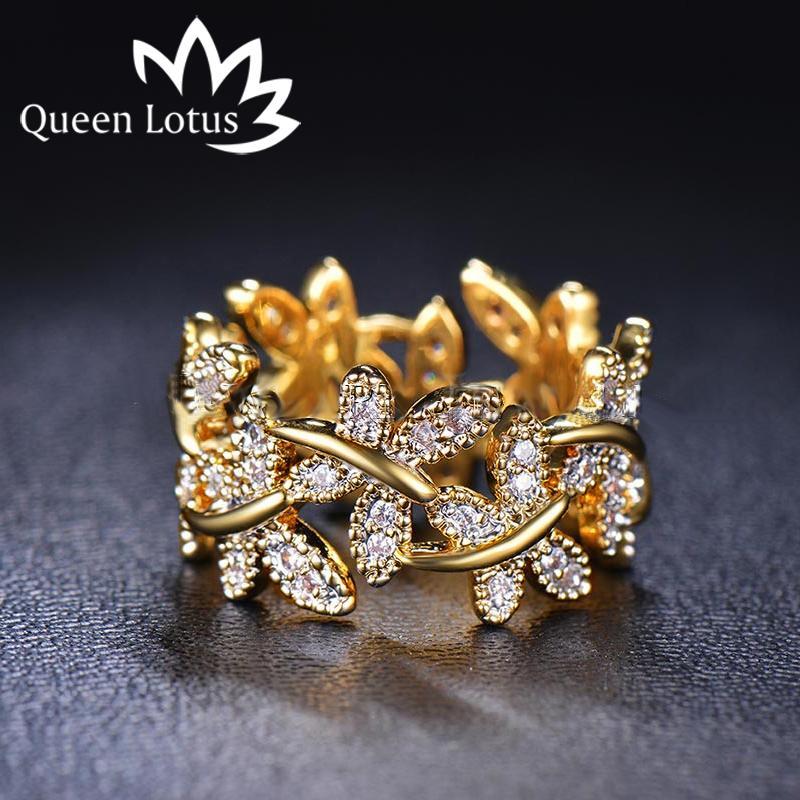 Trendy Micro CZ Kristall Chevron Pflastern Ringe Gold / Weiß Gold Farbe Blume Ring Schmuck für Frauen Anel New