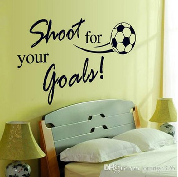 Removable Waterproof Soccer Ball PVC Wall Sticker Shoot for your goals Football Wall Decor for Kids Room Decoration