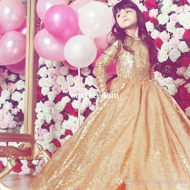 2019 glänzende goldene pailletten ballkleid blume mädchen kleider juwel neck long sleeve kinder pageant kleid erste kommunion kleider maßgeschneidert