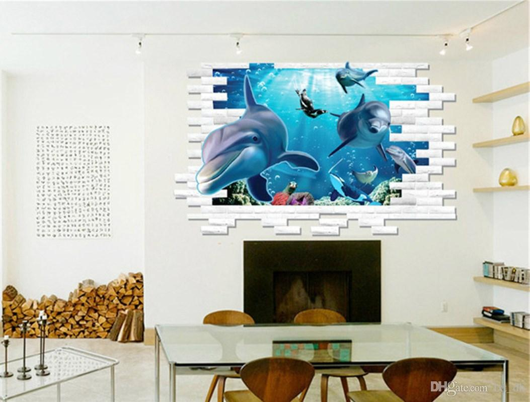 3d dolphin wall mural vinyl decal removable wall sticker art room 3d dolphin wall mural vinyl decal removable wall sticker art room decor