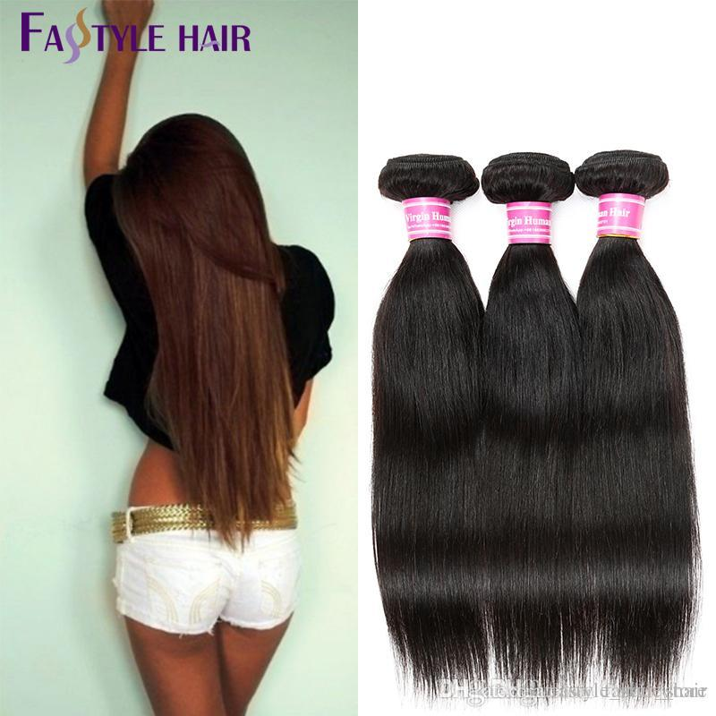Fastyle Malaysian Straight Weave 5pc/lot Natural Black Dyeable Brazilian Peruvian Indian Unprocessed Virgin Hair Bundles 8-26 Inches Cheap