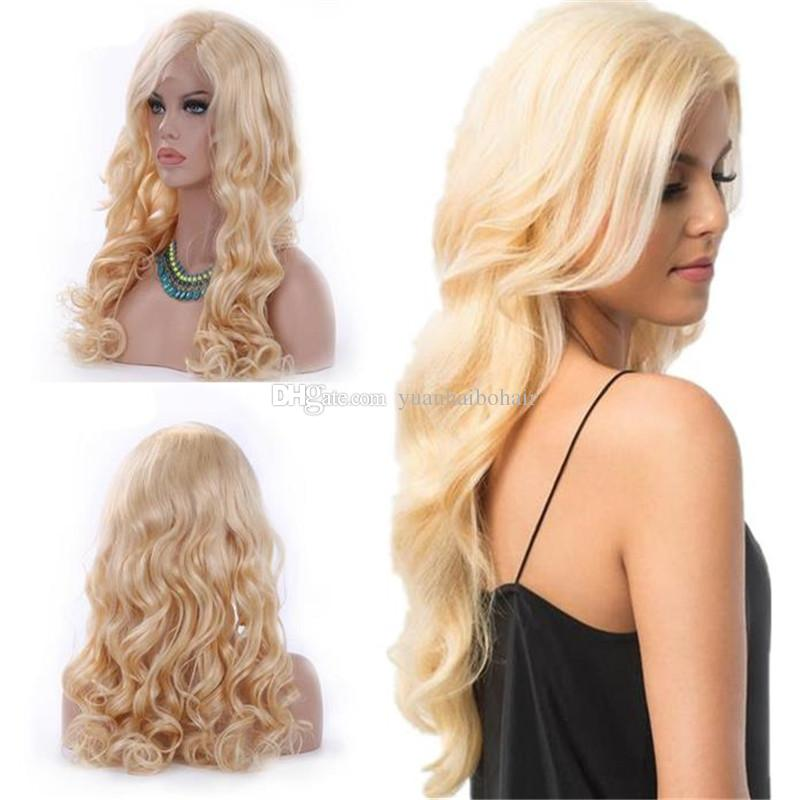 Fashion New Human Hair Wig Color 613 Loose Wave Russian Remy Hair Blonde Lace Front Wig Free Shipping