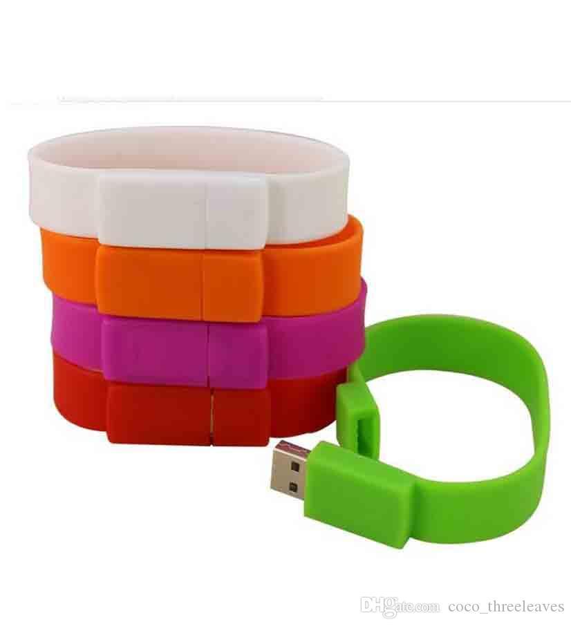 USB 팔찌 실리콘 usb 스틱 공장 공급 100 % 진짜 용량 손목 밴드 로고 USB 플래시 드라이브 2.0 메모리 스틱 엄지 디스크