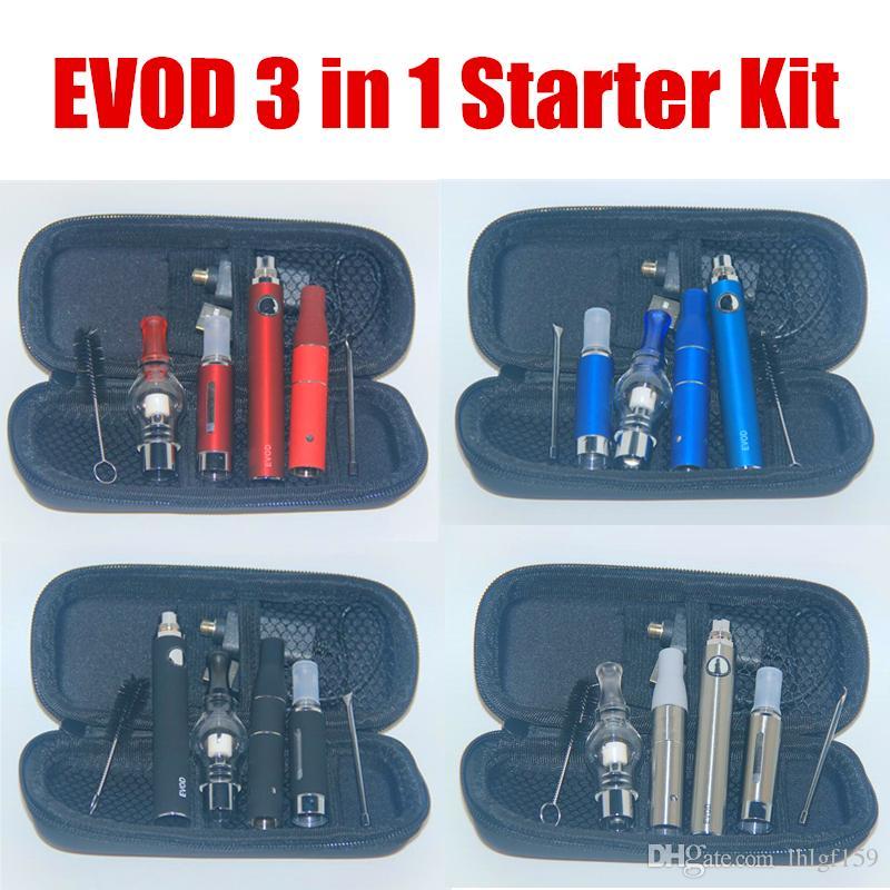 Bester Verkauf 3 in 1 Vaporizer Starter Kits Evod Vape Pen für Wachs-Glas-Kugel vor Dry Herb Dab Pens MT3 Vapes All In One-Qualität 100%