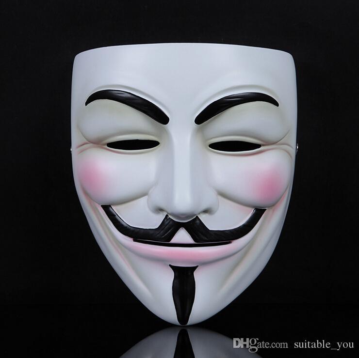 1pcs / lot V per maschere a pieno facciale della resina del grado di Fawkes del ragazzo della maschera di faida per la raccolta