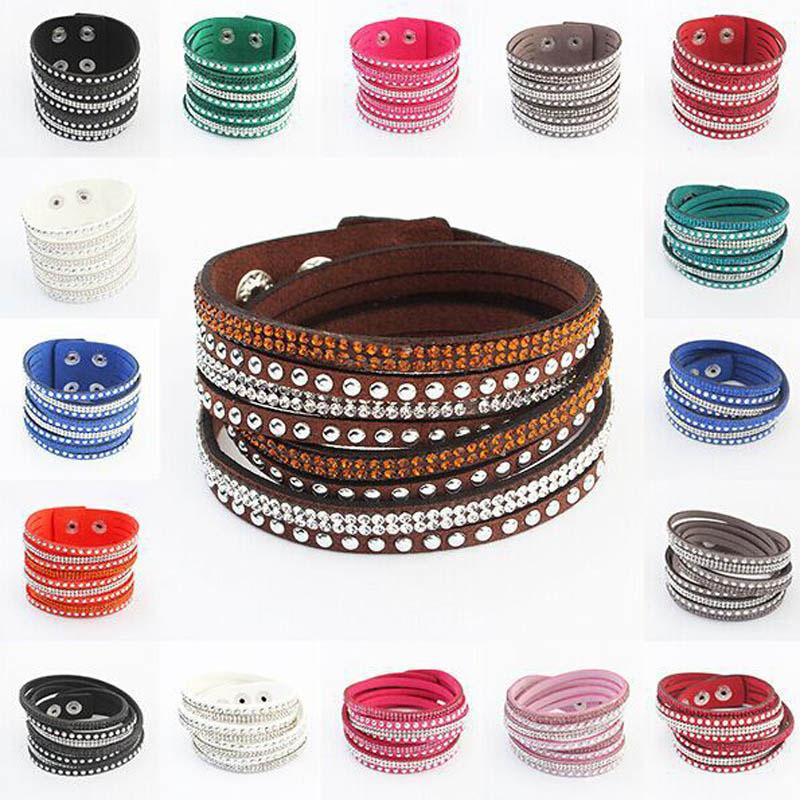 Hot selling rhinestone crystal multilayer bracelets bangles flannel leather wrap bracelet wristbands for women snap button Jewelry 40cm gift