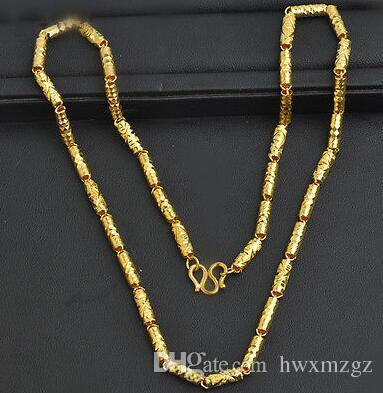 Collana in oro giallo autentico 14K / Collana con perline in bambù da donna / 9.2-9.5g