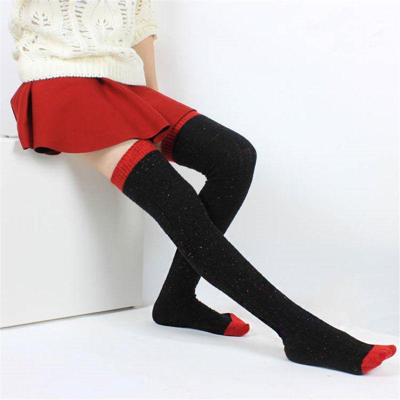 도매 가을 겨울 울 양말 여성 스타킹 따뜻한 패션 허벅지 높은 양말 양말 긴 흡수 통기성 양말 QR443