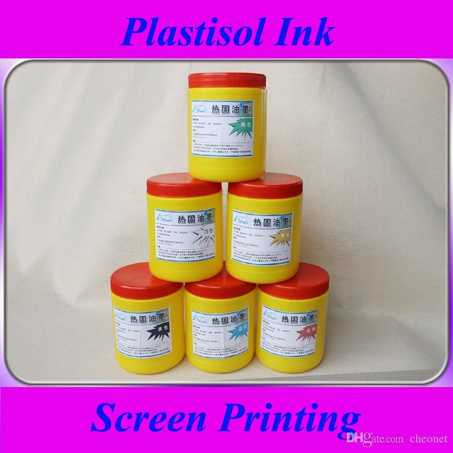 6 bottiglie di inchiostro plastisol per serigrafia, 500 g / bottiglia.