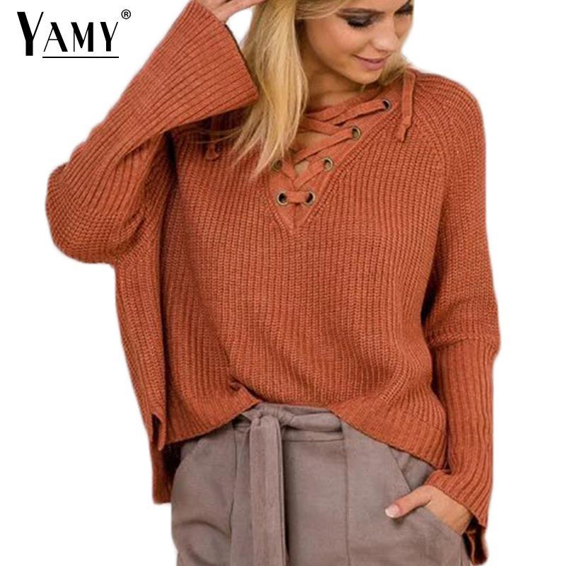 Al por mayor-Encaje sólido de punto suéteres de otoño de las mujeres Flare manga con cuello en v casual suéteres sueltos y jerseys de tejer para mujer puentes