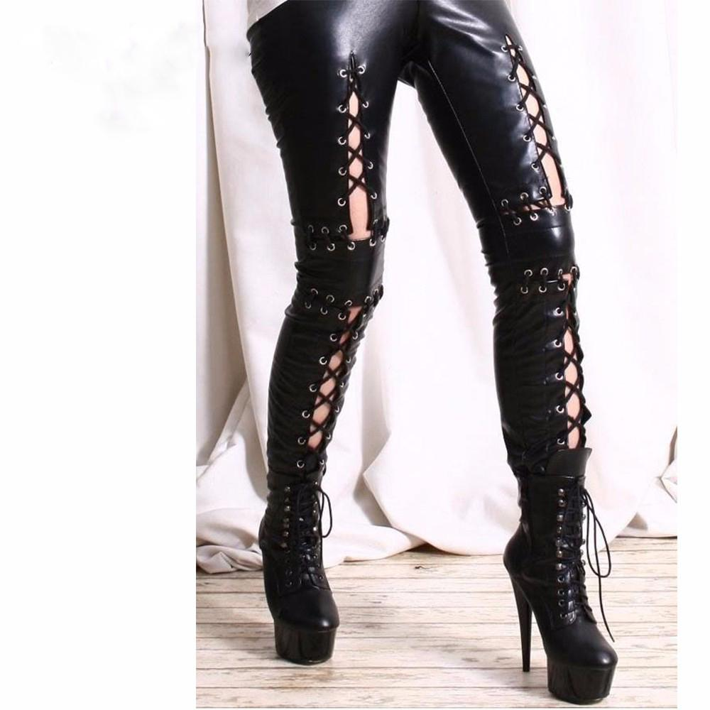 2017 2017 New Women Laced Up Punk Rock Gothic Leggings Black Faux ...